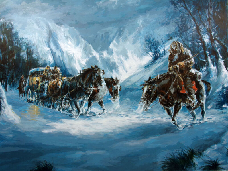 """Americo Makk """"Winter Stage"""" Hand Signed Serigraph w/CoA horse carriage in snow"""