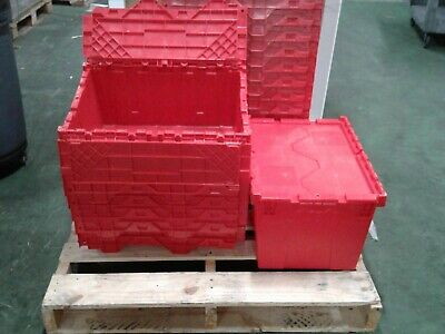 Global Industrial Plastic Attached Lid Shipping Storage Container