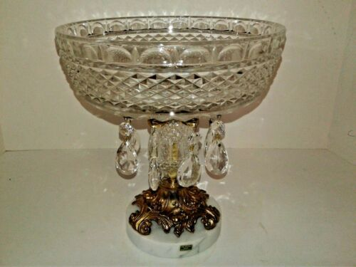 Vintage Italy Compote Glass Crystal Marble Base & Prisms 9""