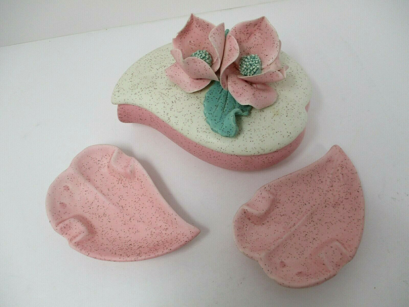 Vintage Speckled Pink White Bisque Heart Shaped W/ Roses 3 Pc Trinket Box Set