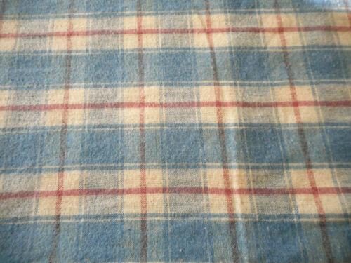 Antique Woven Homespun Plaid Check Brushed Cotton Flannel Fabric ~ Blue Claret