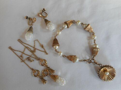 Antique Vintage Floating Opal 12k Gold Filled Necklace Earring Bracelet Set
