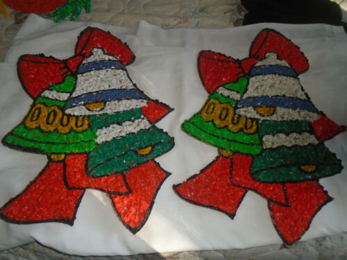 2  Melted Plastic Popcorn Christmas Bell Decorations