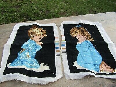 Vintage Praying Children Tapestry x 2 Both Hand Embroidered & Ready to Frame