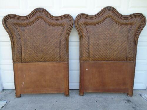 Modern Pair Twin size Headboards Curved Ears Bamboo 2 Tropical Rattan Beach Key