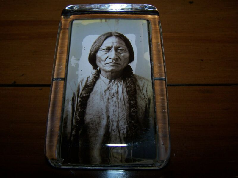 "Charles Carpenter Sepia Toned Reprint Chief Sitting Bull Paperweight 2.5"" x 4"""