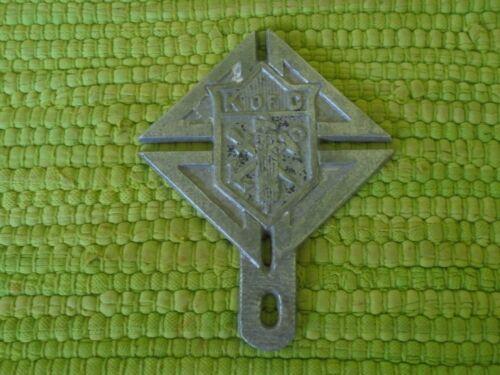 Vintage Knights of Columbus LICENSE PLATE TOPPER Emblem Badge K of C