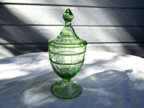 "Green Doric 8"" Tall Candy Dish and Cover"