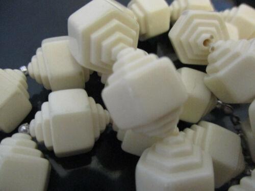Vintage Art Deco Style Geometric Hexagonal Unusual Plastic White Bead Necklace!