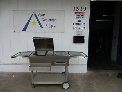 Stainless Steel Mobile Concession Standfood Cart Wice Bin Steam Pan 3477