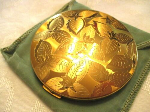 WONDERFUL 1940-50 Vintage LADIES ELGIN AMERICAN Gold Tone COMPACT w/ Pouch