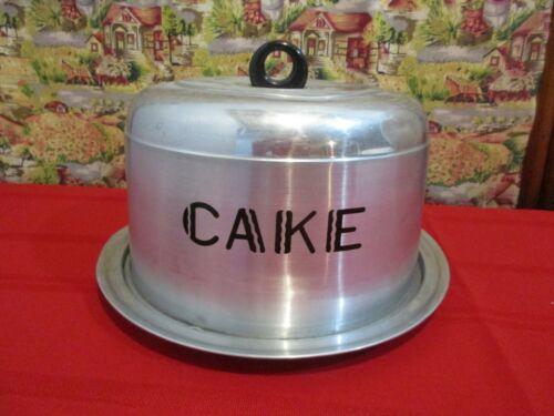 "Vintage Aluminum Locking Cake Taker Keeper Saver Carrier, 7"", Black Handle, 2 pc"