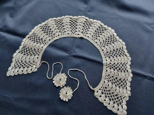 Beautiful Vintage VICTORIAN Handmade Crocheted Lace Collar 100% Cotton Beige