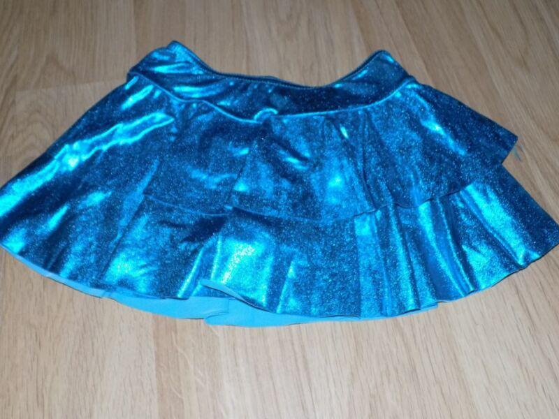Child Size Small Balera Dancewear Metallic Turquoise Tiered Dance Skirt Tutu GUC