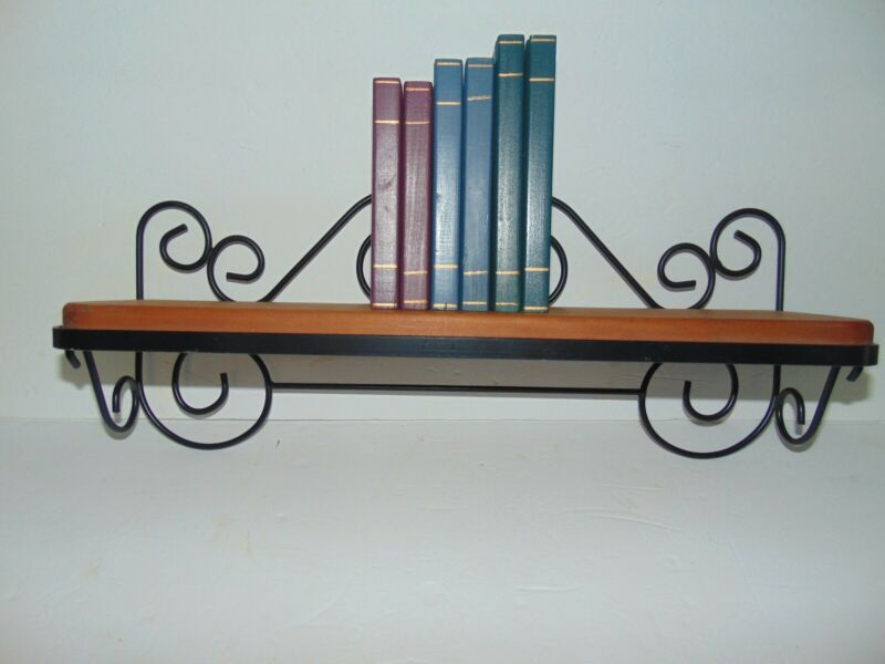 """Vintage Home Interiors Wooden Wall Shelf With Wrought Iron 6 Wooden Books 18"""""""