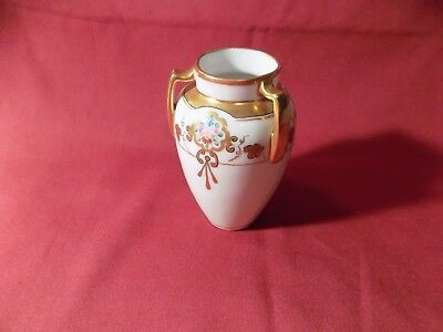 W. A. Pickard Hand Painted Vase RARE 3 Handle Porcelain Vase Gold Trim China