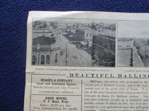1910 Ballinger,Texas GRAPHIC STREET SCENE PICTURES,signed Ben S. Long Letter!