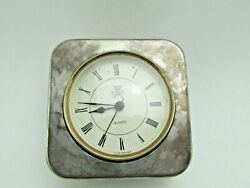 Vintage International Silver Co Silverplated Table Desk Clock Quartz Movement