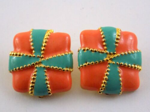 Vintage Coral Pink and Turquoise Blue Enameled Clip On Earrings Goldtone Metal