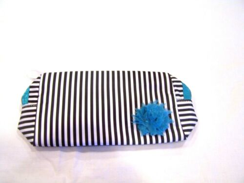 Lancome black & white striped cosmetic bag with blue trim & flower