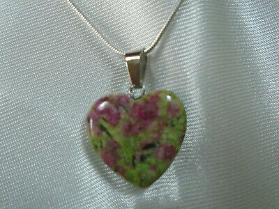 Ruby in Fuchsite Gemstone Heart pendant 925 sterling silver chain necklace  Gemstone Heart Necklace