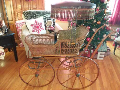 Vintage Antique Victorian Wicker PRAM Baby Buggy Carriage Stroller ALL ORIGINAL