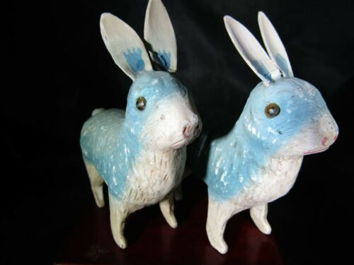 2 x Antique Vintage Chalk or Paper Mache Easter Bunnies- Rabbit- Random House