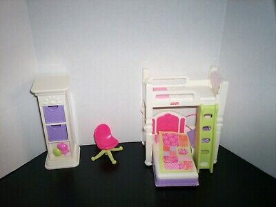 2012 Fisher Price Loving Family Kids' Bedroom Dollhouse Furniture Bunk Bed Lot