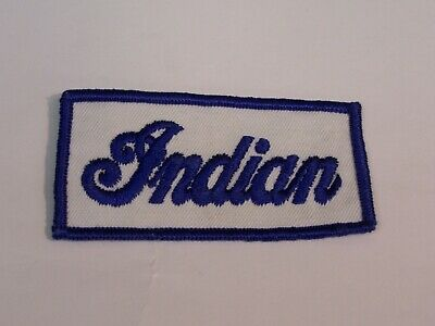 VINTAGE INDIAN BLUE / WHITE MOTORCYCLE EMBROIDERED PATCH
