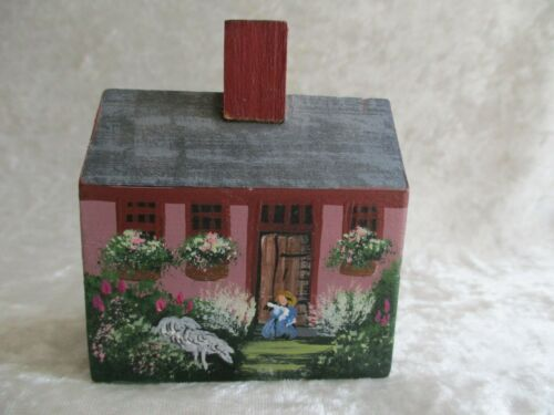 Charlotte Trahan Hand-Crafted Hand-Painted Cape Cod House w/Spring/Summer Scene