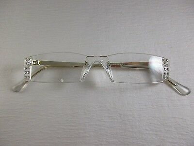 CLEAR RIMLESS Gold Tone Temples Reading Glasses with 20 Rhinestones -