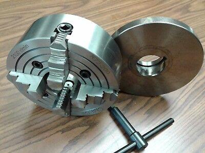 8 4-jaw Lathe Chuck W. Independent Jaws W. L00 Adapter Semi-finish0804f0-new