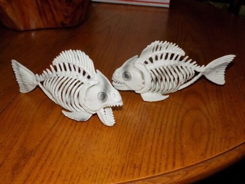 "2 Halloween Prop Piranha Fish Bone Skeletons Party Decor Posable Jaw 9X5"" New"