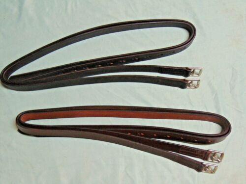 """One Pair 48"""" 54"""" 60"""" English Saddle Stirrup Leathers ADULT CHILD BLACK or BROWN"""