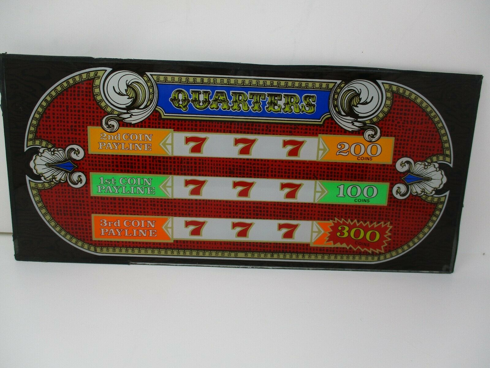 Bally's Quarters Retired Atlantic City Glass Slot Machine Front Face Plate
