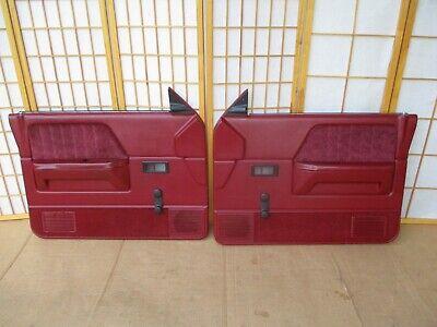 87-96 Dodge Dakota Pickup Truck LEFT RIGHT MAROON RED CRANK Door Panel SET