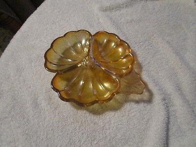 Vintage Carnival Glass Marigold Sectional Candy Dish Leaf Pattern 3 Sections Sectional Candy