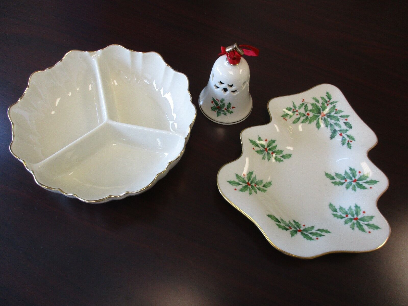 Lenox Holiday Holly Berry Candy Dishes And Dinner Bell With 24K Gold Trim
