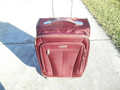 SAMSONITE 1910 MAROON CARRY ON LUGGAGE ROLLING BAG WITH TELESCOPIC HANDLE