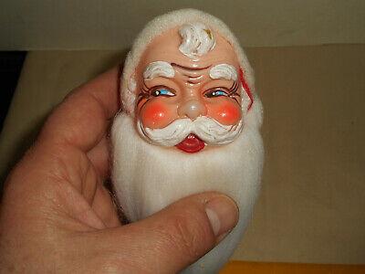 Vintage Blow Mold Santa Hand Painted Wire Ornament Long Cotton Beard 1950s Japan
