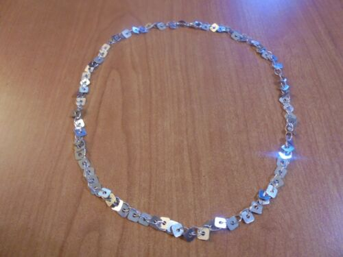 """Vtg Sterling silver square charm chain link necklace 18"""" 11.2 grams Milor Italy"""