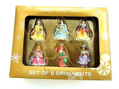SET OF 6 DISNEY PRINCESS CHRISTMAS HOLIDAY MINIATURE ORNAMENTS SET