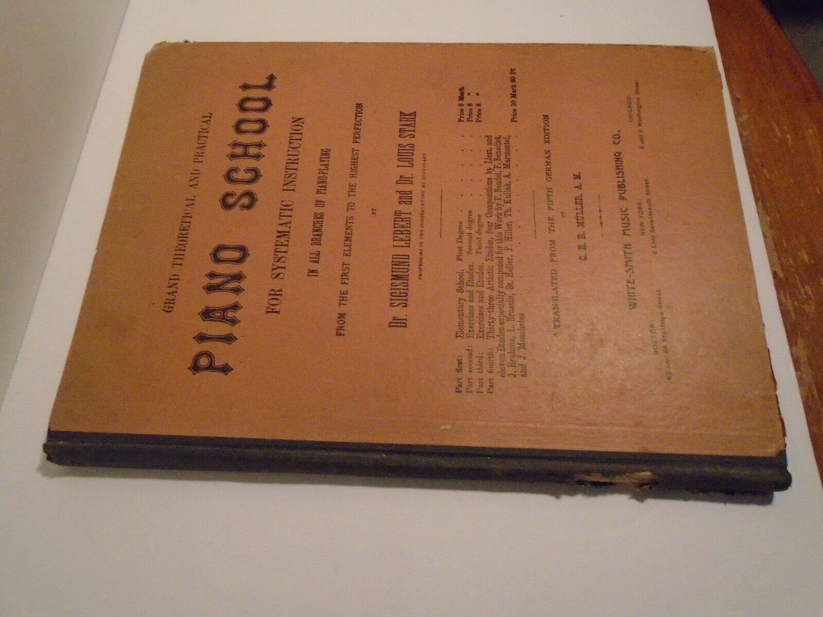 Antique Grand Theoretical And Practical Piano School Book - Dr. LEBERT Dr.STARK - $39.95