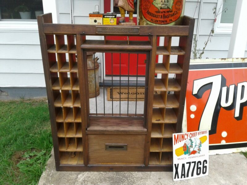 Antique early wood post office mail counter top