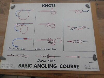1972 POSTER KNOTS ANGLING FOUNDATION DESIGN ARTWORK LONDON ANGLERS ASSOC