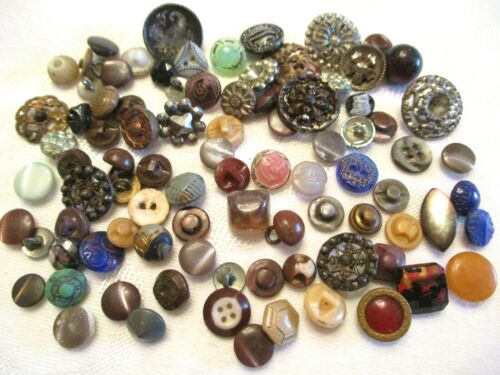 90 TEENY TINY Antique GLASS & METAL Clothing BUTTONS Diminutives & SMALLS
