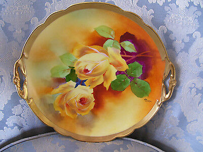 Gorgeous Limoges Charger/Cake Plate; Hand Painted Yellow Roses; A Bronssillon