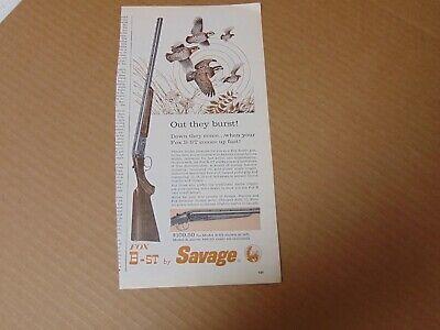 1960 SAVAGE FOX B-ST SHOT GUN QUAIL HUNTING print ad