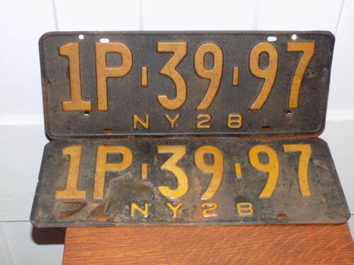 Pair of 1928 New York License Plates