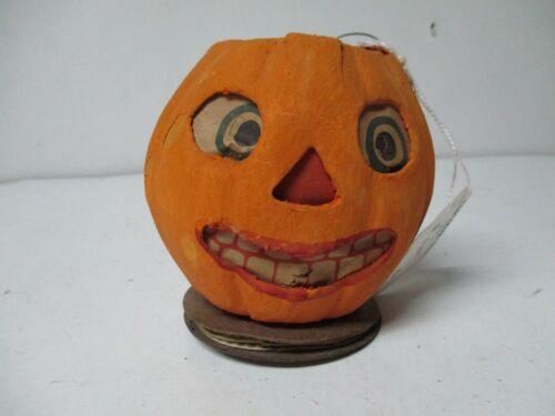 "Vintage Halloween Germany JOL Pumpkin Lantern w Accordion Pullout - 3 3/4"""